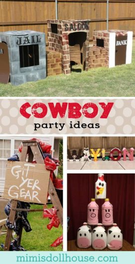 Cowboy Party Ideas: How to throw a Western-themed Party.  Have a little buckaroo who loves to play cowboy?  Why not throw him a Cowboy themed party?  I'm sharing some fun cowboy party ideas for to make your western party as wild as it is west!!  Looking for cowboy themed desserts?  Be sure to check out this Wild West Party, Cowboy Party and all our cowboy inspiration and ideas!