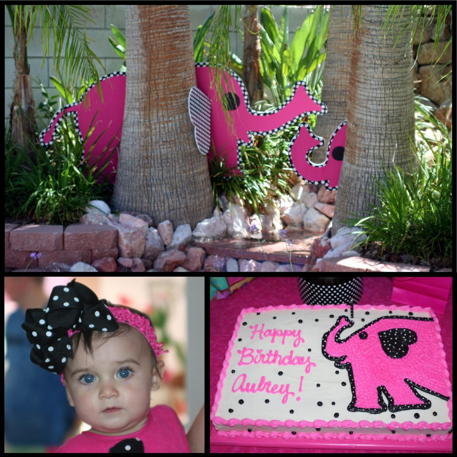 Elephant Party: Aubrey's Pink Polka Dot Elephant 1st Birthday