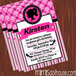 Barbie Glam invite display-hotpink