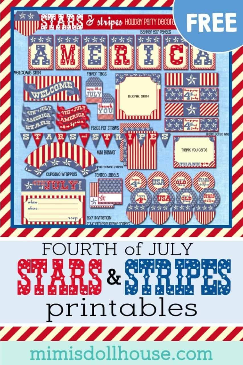 Throwing a Fourth of July party? Here are some fun and patriotic free printables for July 4th! #july4th #fourthofjuly #freeprintables #holidayparty #july4thparty