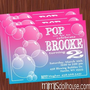bubble party invite display pic