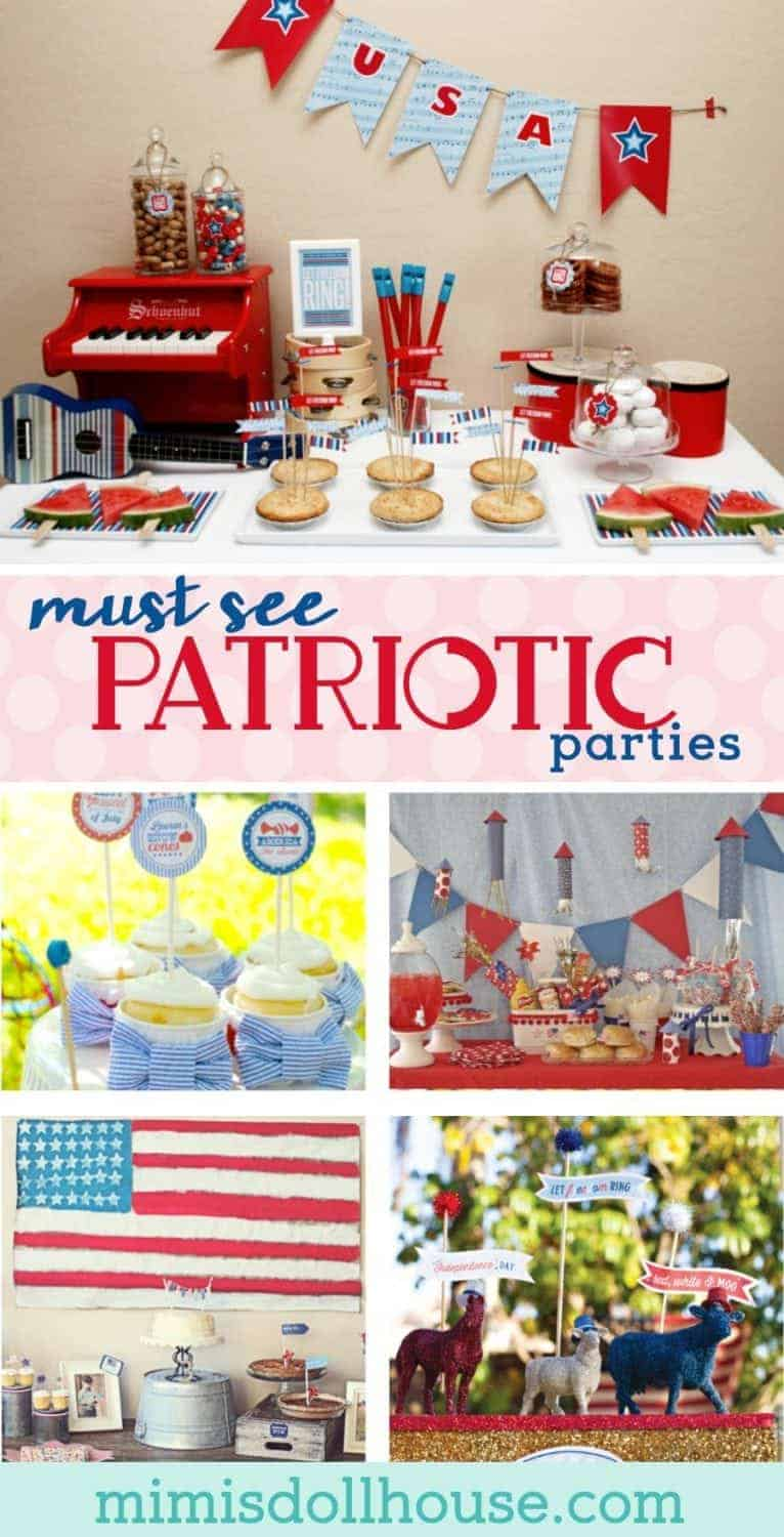 Need some Fourth of July party or Memorial day party ideas? Here are 8 must see patriotic parties to excite your red, white and blue.  Fourth of July food, Fourth of July decorations, and more! #patrioticparties #redwhiteandblue #fourthofjuly #memorialday #4thofjulyideas