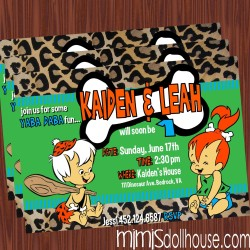 pebbles and bamm bamm invite display