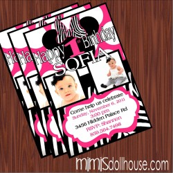pink zebra invitation display