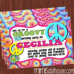 tie dye invitation display