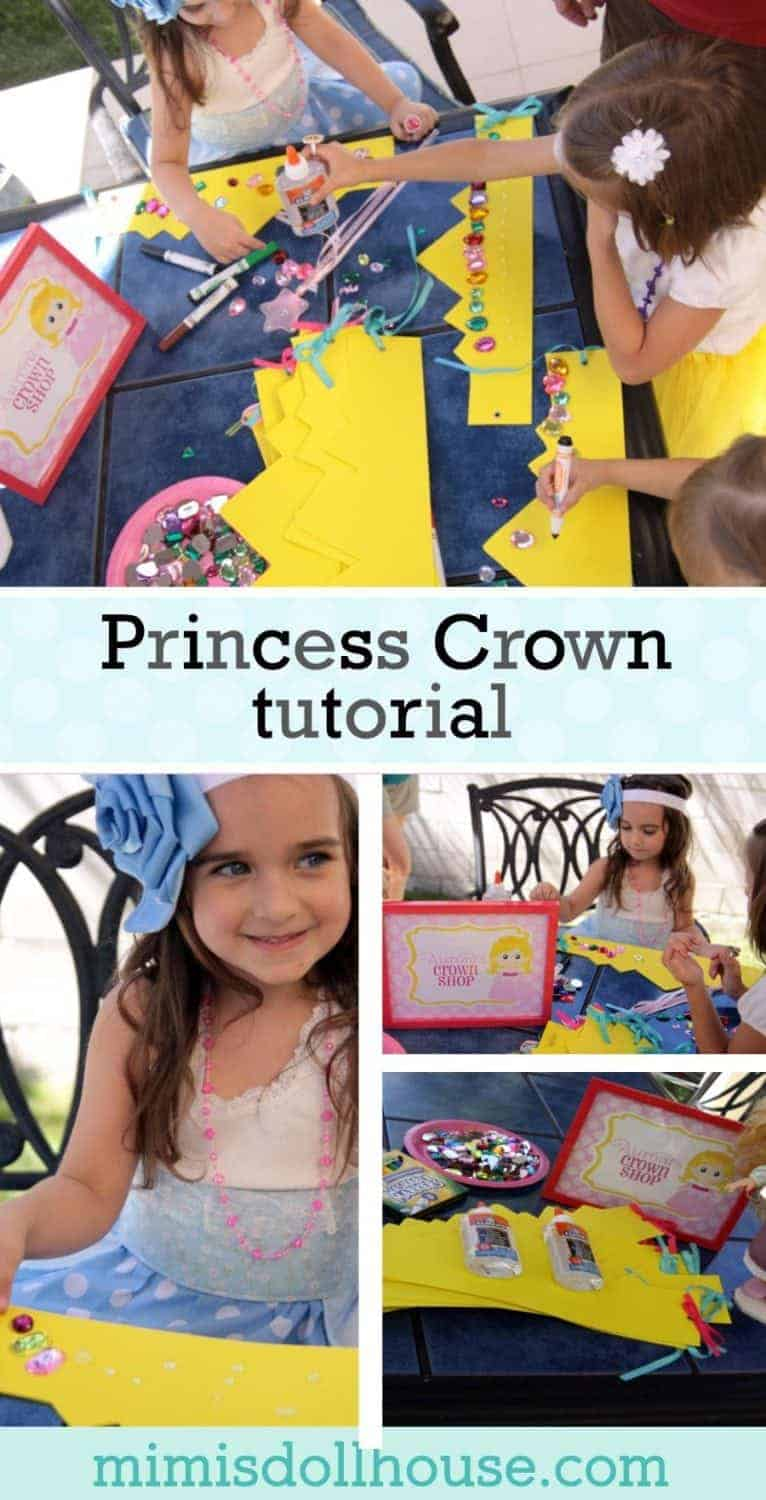 Princess Party: Princess Crown Tutorial.  Need Princess party activity ideas? Here's an easy DIY Crown Tutorial Activity for your little princesses (or princes!).  We also have an awesome Castle Tutorial and some Poison Candied Apple tips to share.