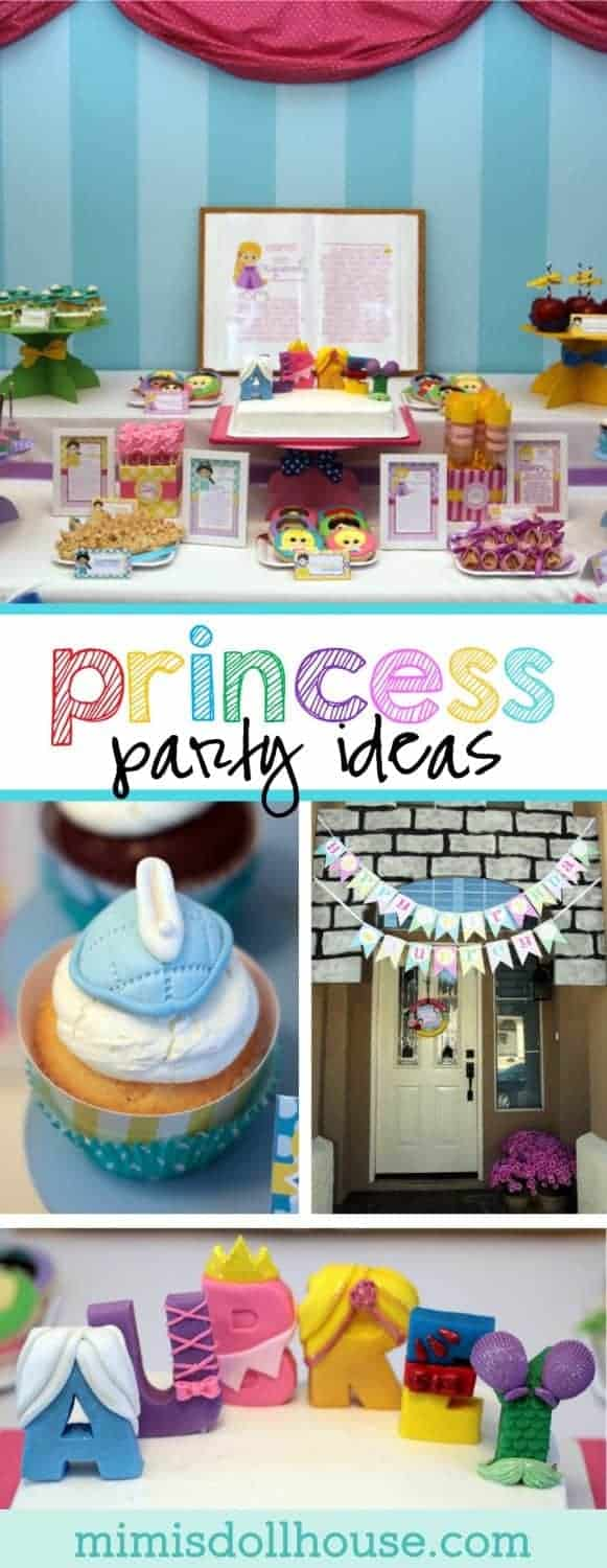 Princess Party: Aubrey's 4th Birthday Storybook Celebration (Part 1).  Bibbity Bobbity Boo!  How about a Storybook Princess Party?  I'm sharing the first part of my Disney inspired princess birthday party today.  Be sure to check out the Castle Tutorial, Crown Tutorial, Princess Party Activities and Storybook Tutorial that coordinate with this design.
