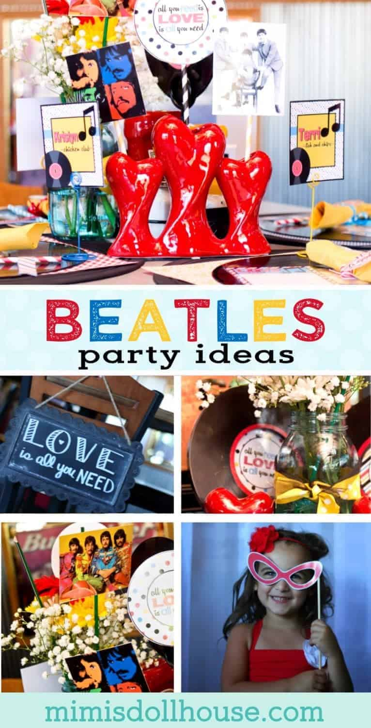Beatles Wedding: All you need is LOVE Rehearsal Dinner. This Beatles Wedding Rehearsal Dinner shows there is nothing quite like Beatles love songs and a little rock and roll twist. Be sure to check out all our rock and roll party ideas and wedding/bridal ideas.