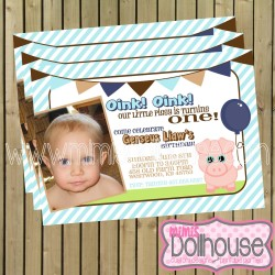 invitation display piggy blue