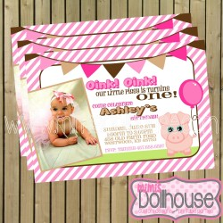 invitation display piggy pink