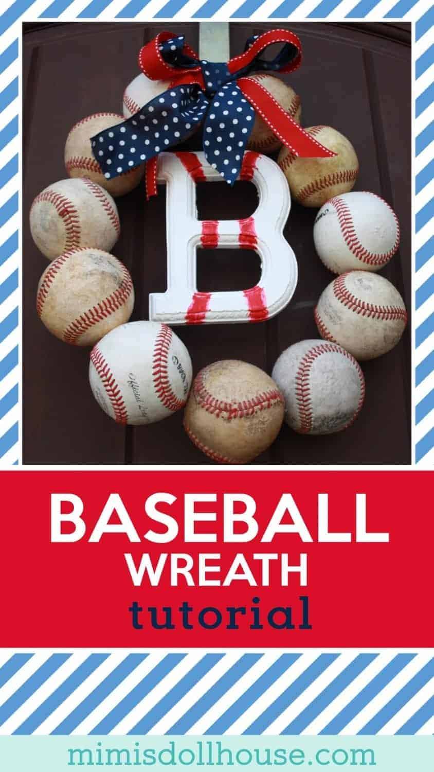 Looking for a fun DIY baseball craft? This Baseball wreath tutorial is perfect for a baseball party or just to celebrate baseball season.  #baseballparty #partyforboys