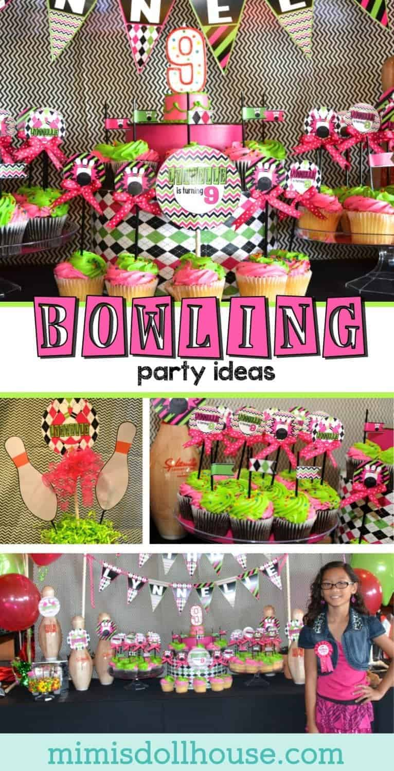 Bowling Party: Strike out for Lynnelle's Bowling Party.    I'm sharing a super cute pink and preppy bowling party today.  Check out our other posts for more bowling party ideas inspiration.