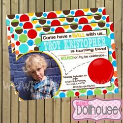 invitation display bouncy ball