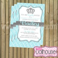 modern princess invitation-blue