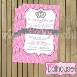 modern princess invitation-pink