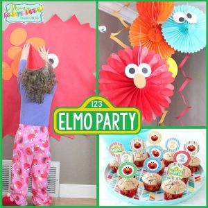 Sesame Street Party: Harper's Pretty Elmo Party-Mimi's Dollhouse