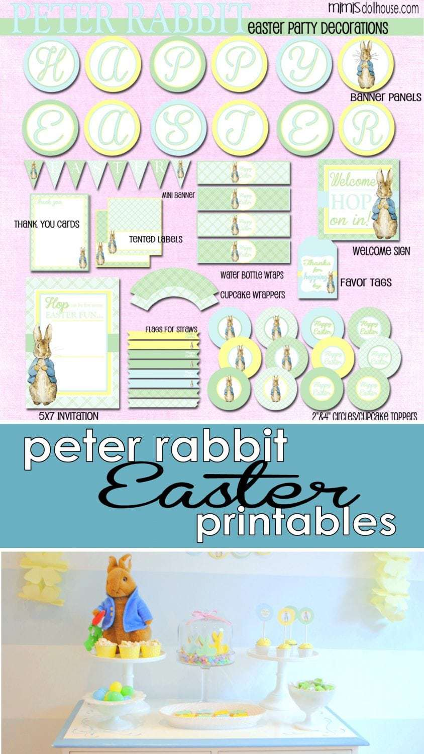 Printable Easter Decorations.  Classic Peter Rabbit Printable Easter Decorations.  Easter Printables