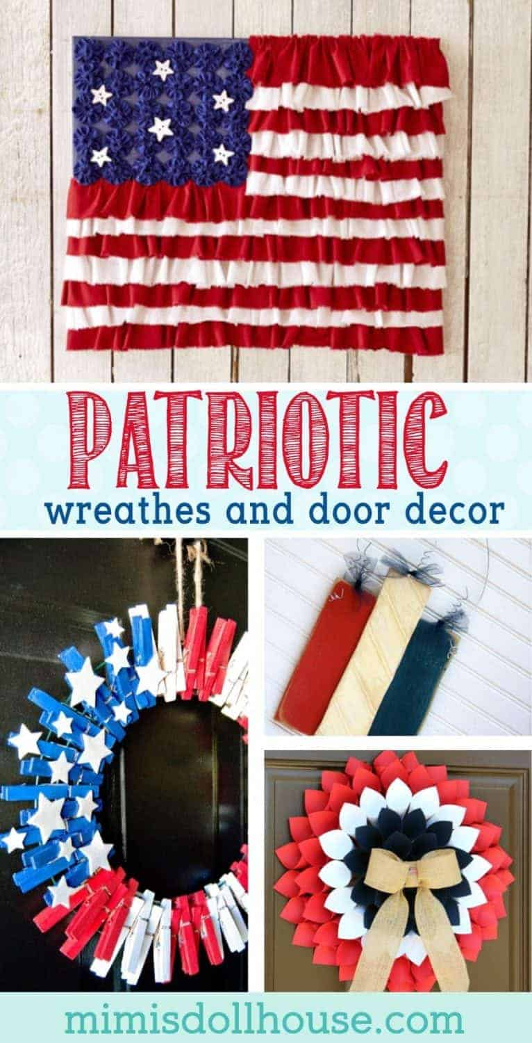 Here are some fun and easy to DIY Fourth of July Wreathes and Door Hangers.  Check out all the fun and patriotic ideas! #fourthofjuly #july4th #patriotic #diy #wreath