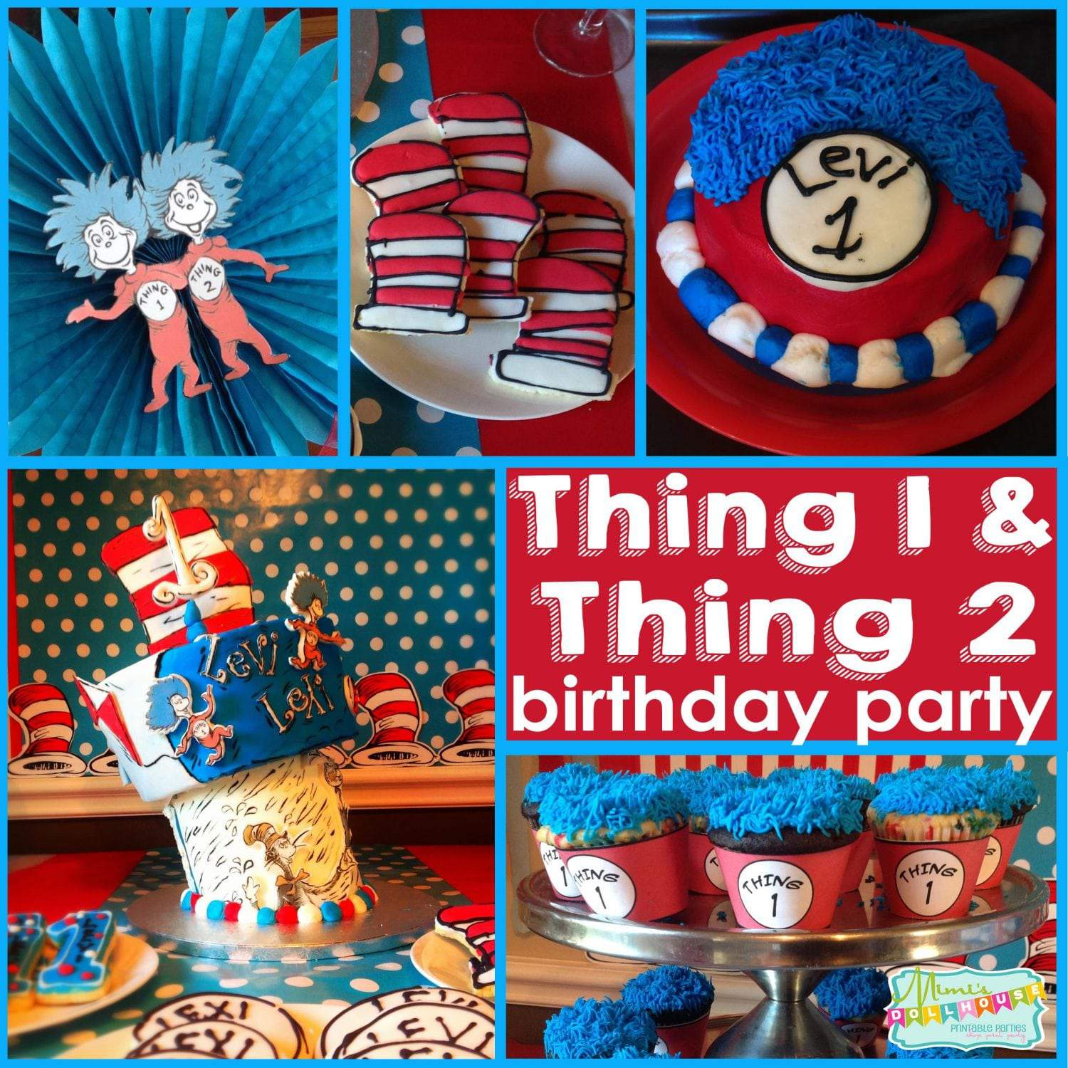Thing 1 and Thing 2 Party: Twin\'s first birthday party, oh what fun ...
