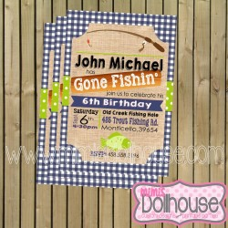 Gone Fishing Invite Display-blue