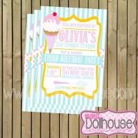 Ice Cream Shoppe Invitation Display-no photo
