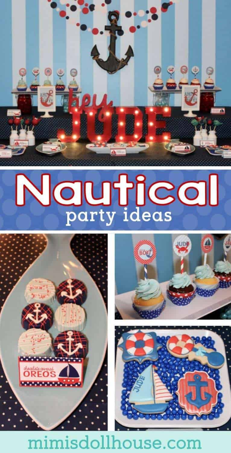 Nautical Party: Ahoy! It's a Boy. This Nautical baby shower is so fun and colorful.  It's full of  crabs and boats and anchors galore. Be sure to check out all of my Nautical party ideas and inspiration.