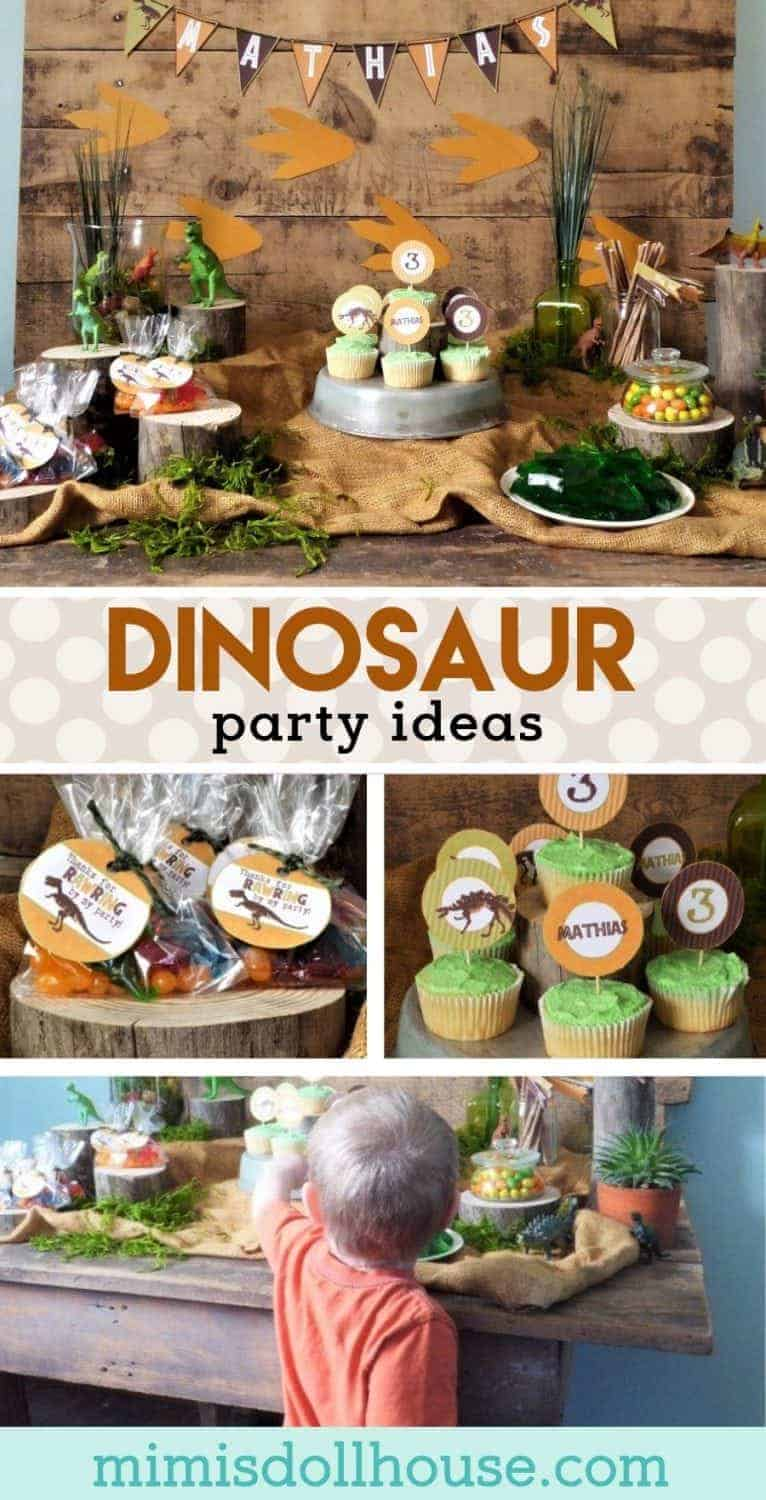 Dinosaur Party: Rustic Dinosaur Birthday Party Decorations.  Looking for some ROAR-tastic dinosaur birthday party ideas?  I'm sharing an awesome dinosaur party full of creative dinosaur party decorations!  Be sure to check out all of our Dinosaur Party Ideas!