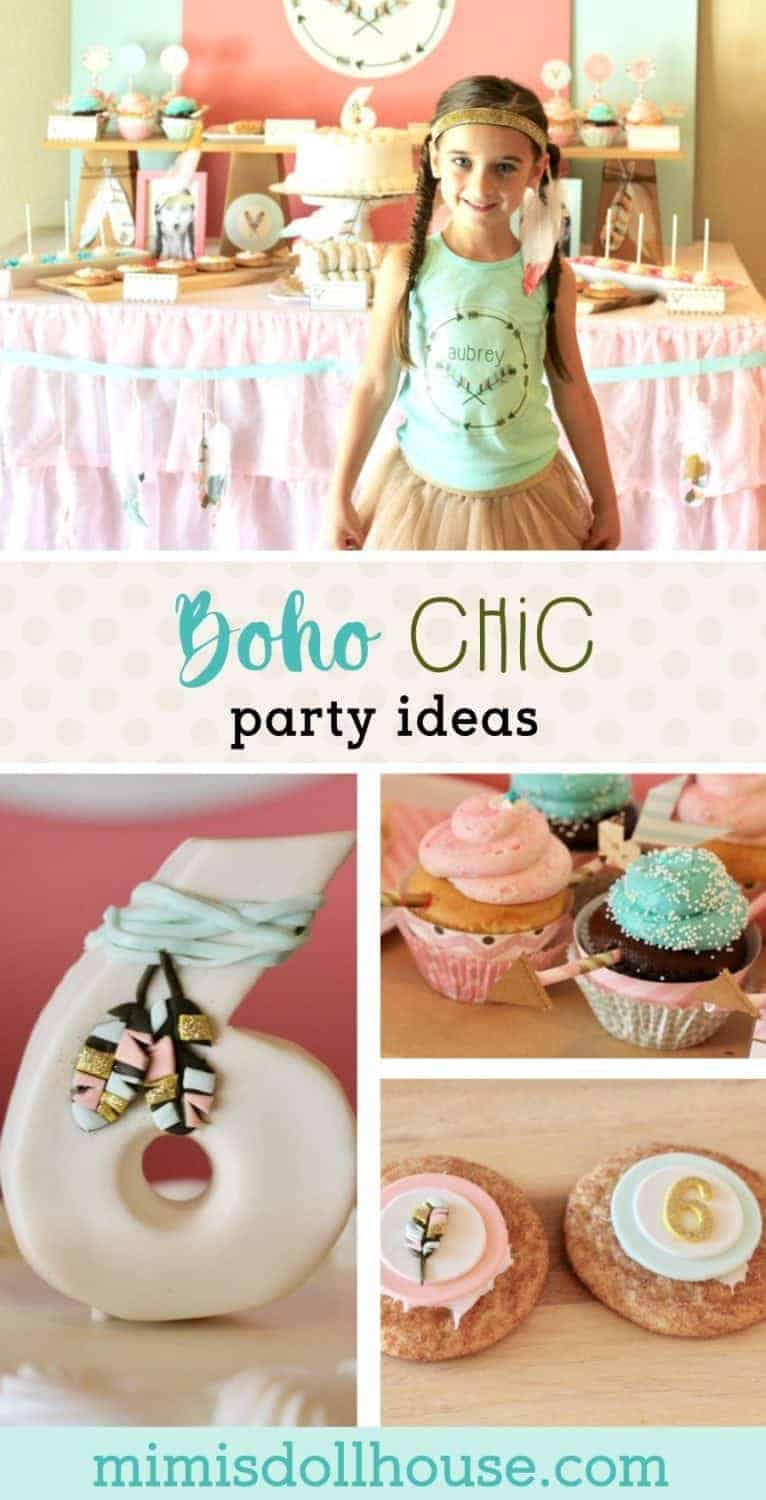 Celebrate your little one with bohemian arrows, gold and pretty mints and corals.  This adorable Boho Chic birthday party is so fun and feminine.  It is sure to be a hit with your little girl.  Check out all the boho chic party details and ideas.