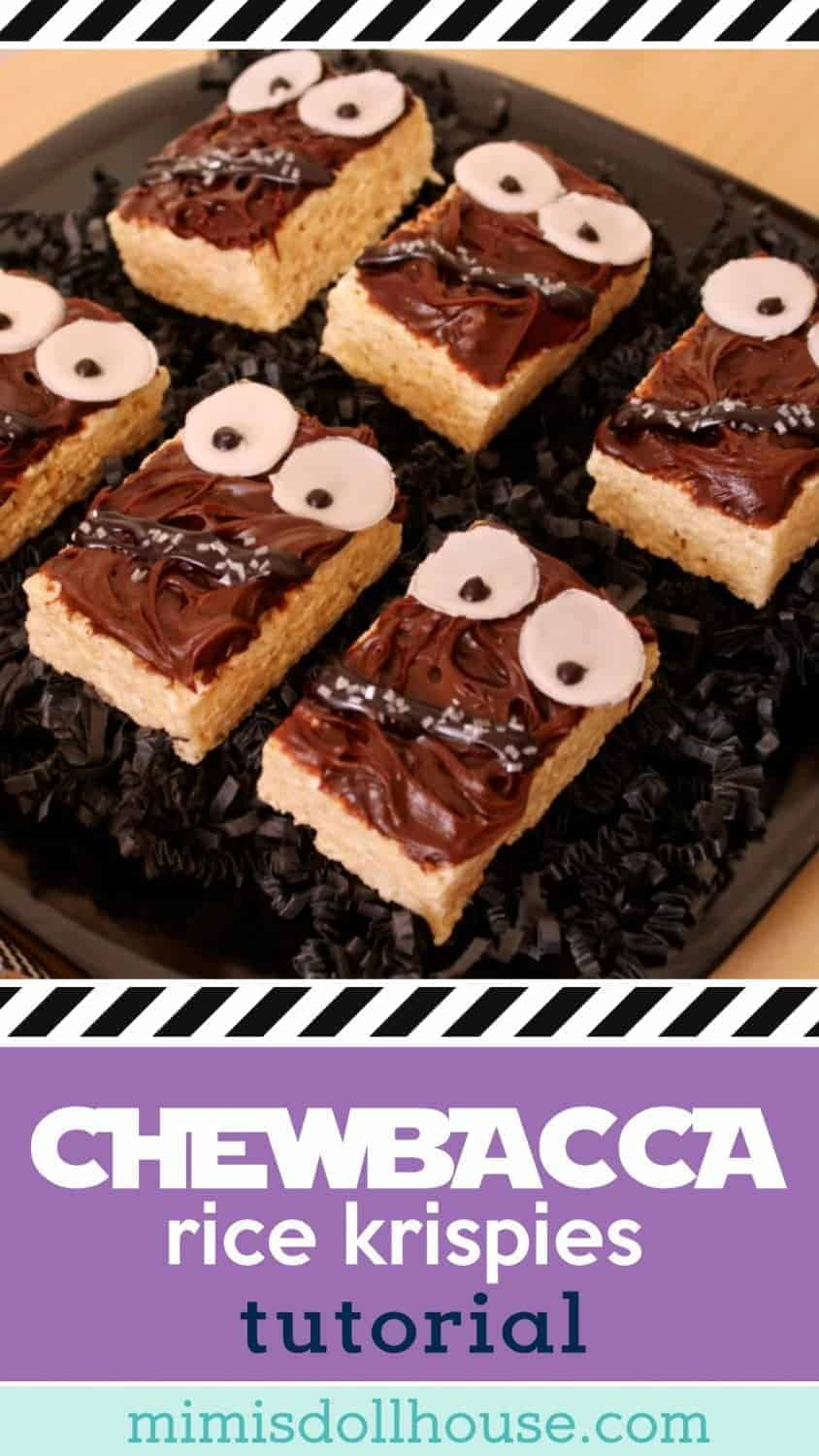 Looking for an easy DIY Star Wars party treat? These Chewbacca Rice Krispie Treats are adorable and easy to make! Check out the easy tutorial. #starwars #chewbacca #partyideas #diyparty #ricekrispies