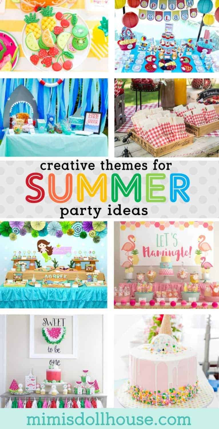 Keep Cool with these Hot Summer Party Themes! Looking for some sizzling summer party ideas? This post is full of some of the best trends in summer parties. From the pool to the beach to the park, we have got you covered! #summer #summerparty #poolparty #icecream #flamingle #shark #picnic #mermaid #watermelon #tuttifruiti